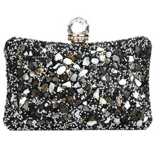 Silver Diamonds Box Bag Evening Clutch Purse Women Fashion Mini Chain Shoulder Bags Female Elegant Wedding Party Clutches Pouch beautiful flamingo crystal wedding clutch bags crystal clutches purse women evening bags ladies handbag