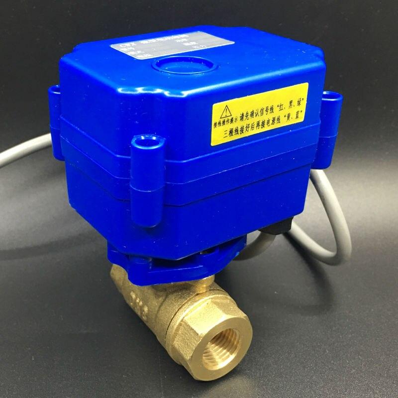 Hot 3 Wires CR02 Wiring DC3-6V (5V ) Brass DN8 Motorized Ball Valve 2 Way BSP 1/4 Electric Ball Valve