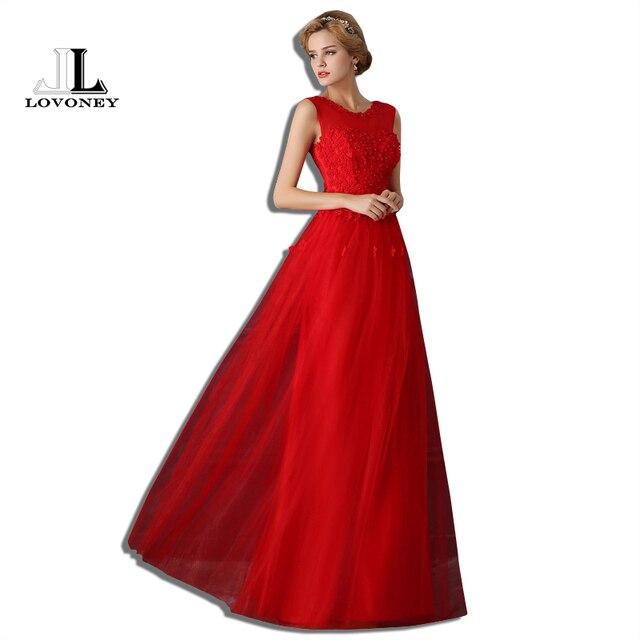 LOVONEY T404 Lange Elegante Rote Abendkleider 2017 A linie O ansatz ...