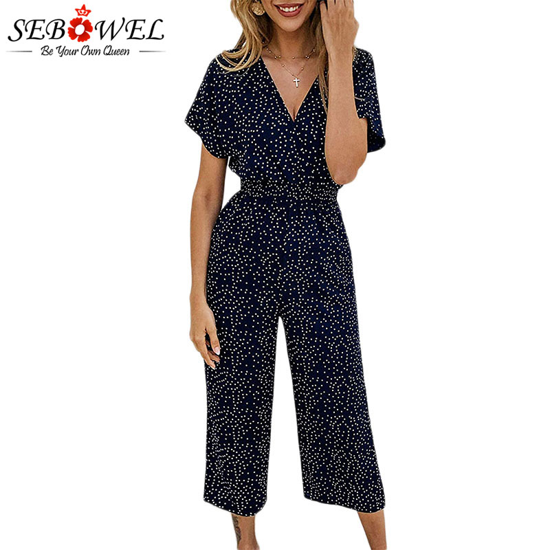 SEBOWEL 2019 Summer Wrapped Short-sleeved Polka Dot   Jumpsuits   Woman Pocket Rompers High Waist Wide Leg Loose Chiffon   Jumpsuit