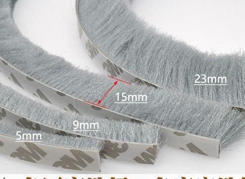 10 metros de Auto-adesivo de Vedação à prova de Vento-Escova Tira Para Casa Porta Janela Tira de Vedação de Isolamento de Som