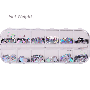 Image 5 - 1 Case Laser Sequins for Nails Silver Glitter Triangle Star Holographic Flakes Paillette Tool Nail Art Decoration Manicure JI645