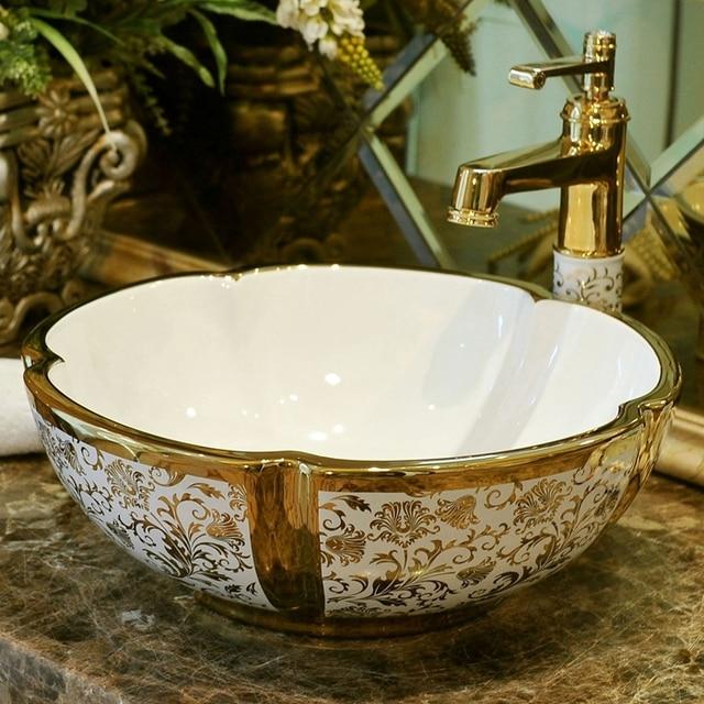Flower Round Bathroom Lavabo Ceramic Counter Top Wash Basin Cloakroom Gold  Pattern Porcelain Vessel Sink Wash