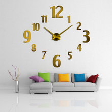Large 3d acrylic big numbers mirror quartz wall clocks