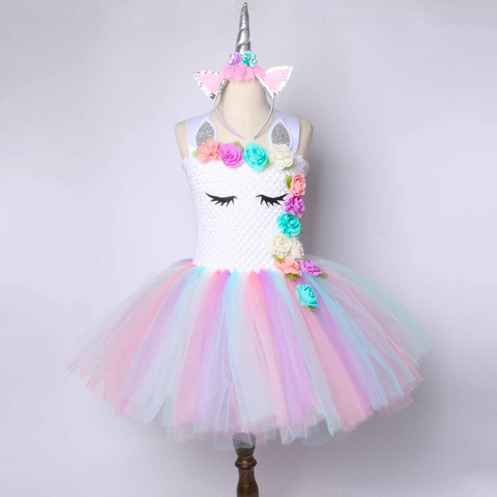 Unicorn Tutu Dress Kids Girls Princess Party Clothing Toddler Teenage Rainbow Tulle Wedding Birthday Christmas