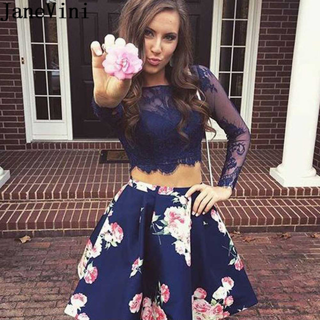 5e2c0e9bd66aa US $109.9 45% OFF JaneVini 2 Pieces Floral Bridesmaid Dresses Short Satin  Dress Lace Long Sleeve Flowers Print Prom Gowns Navy Blue Party Dress-in ...