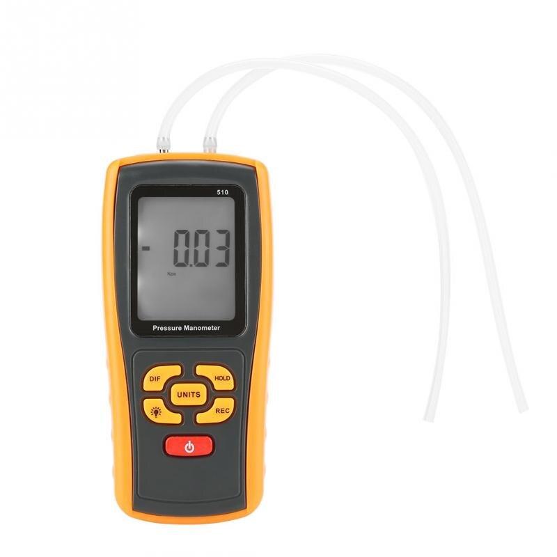 GM510 Pressure Manometer Portable Digital LCD Display Pressure Manometer 10kPa Pressure Gauge 11 units Testing
