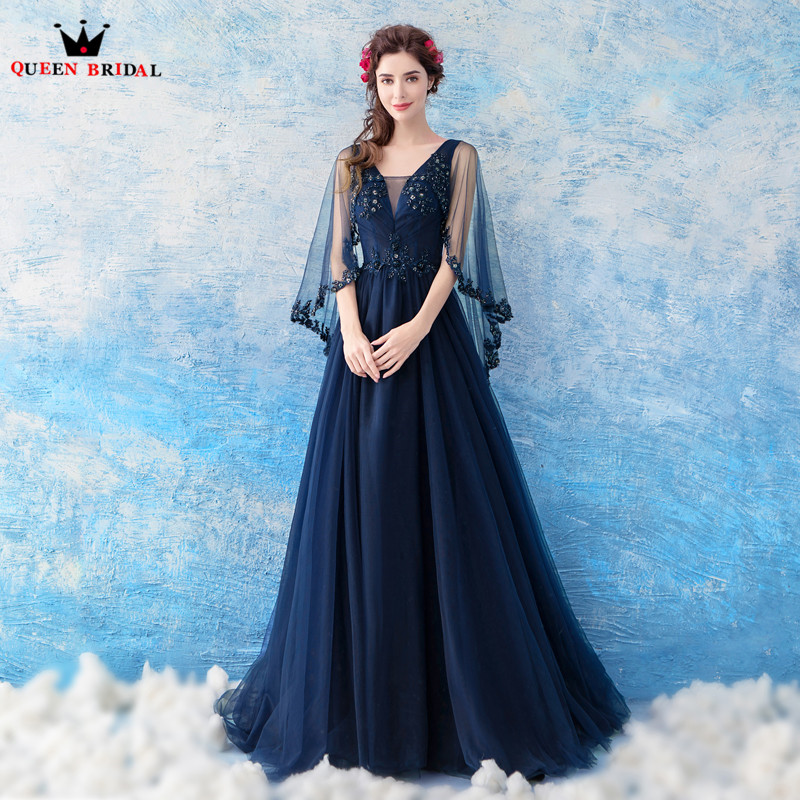 A Line Cape Tulle Lace Beading Sequins Dark Blue Formal Long Evening