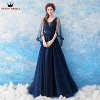 A line Cape Tulle Lace Beading Sequins Dark Blue Formal Long Evening Dresses 2018 New Fashion Party Prom Dress Evening Gown WS81