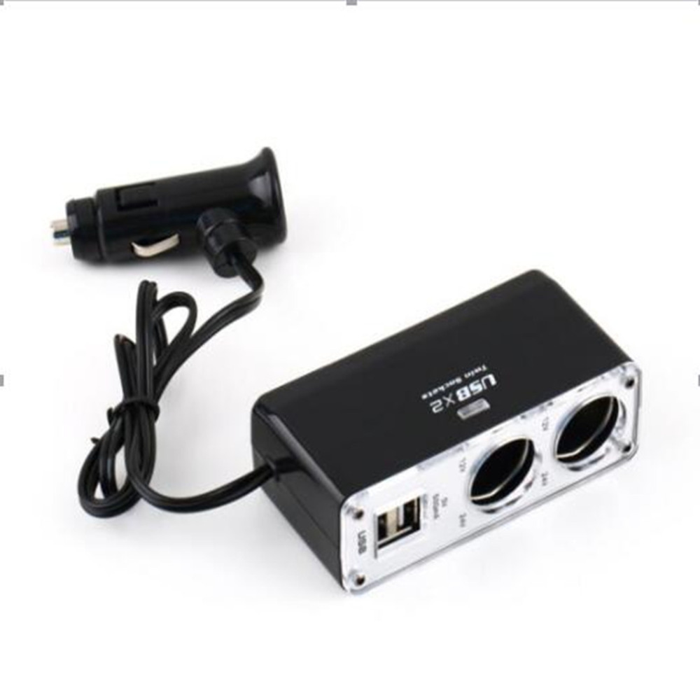 New 5V/1A Double USB Port 2 Way Auto Car Cigarette Lighter Socket Splitter Charger Plug Adapter DC 12V Dropping Shipping