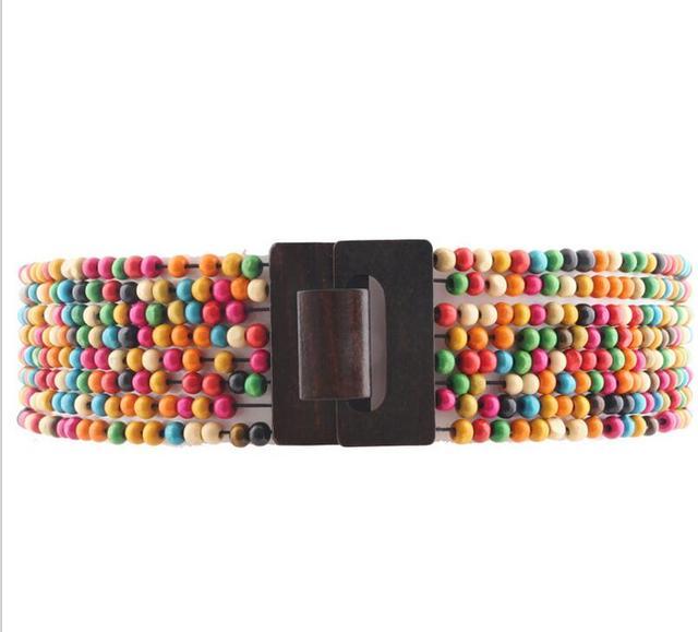 Пропускная способность пояса 2016 мода новый дизайн красочные деревянные борта свободную эластичный широкий пояс