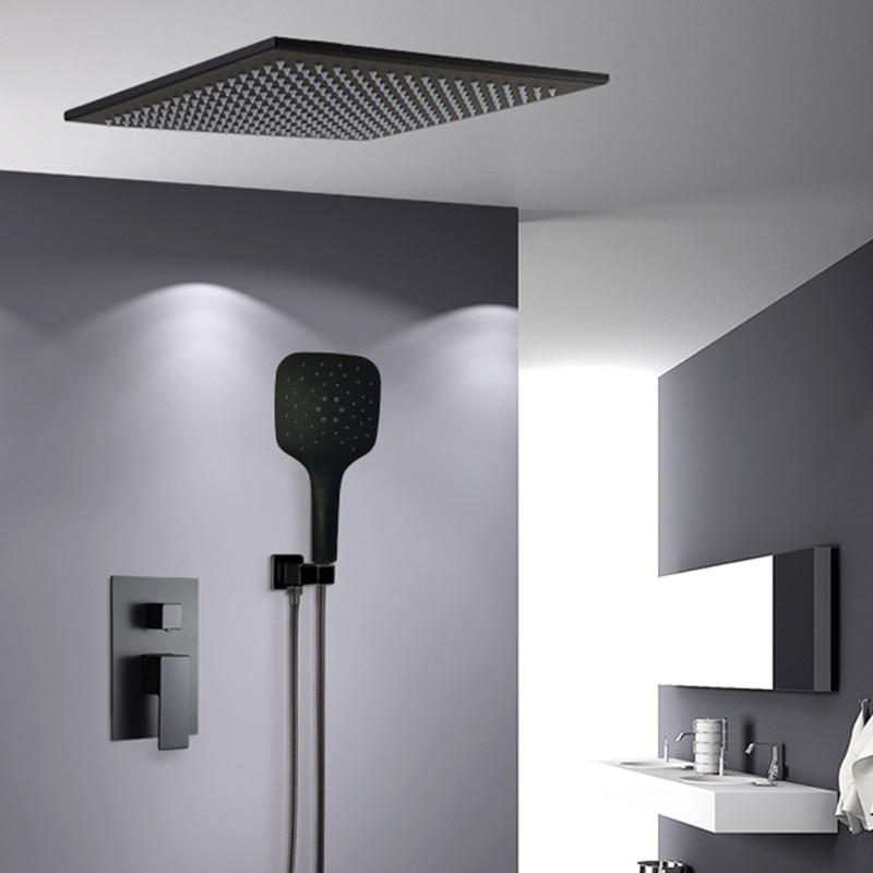 BAKALA Shower Faucets black wall mounted rainfall bathroom concealed shower mixer taps bath rain shower set
