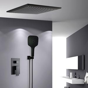 Image 1 - BAKALA Shower Faucets Black Wall Mounted Rainfall Bathroom Concealed Shower Mixer Taps Bath Rain Shower Set Bathtub Faucet BR BB