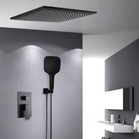 BAKALA Shower Faucets black wall mounted rainfall bathroom concealed shower mixer taps bath rain shower set bathtub faucet BR BB
