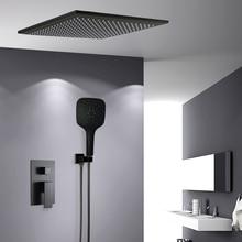 Bakalaシャワー蛇口黒壁マウント降雨浴室隠さシャワーミキサータップバスレインシャワーセット浴槽の蛇口BR BB