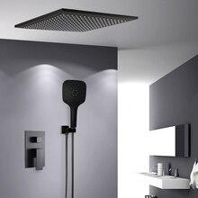 Bakala torneiras de chuveiro preto fixado na parede do banheiro chuvas escondido chuveiro torneiras misturadoras banho chuva chuveiro conjunto torneira da banheira BR BB