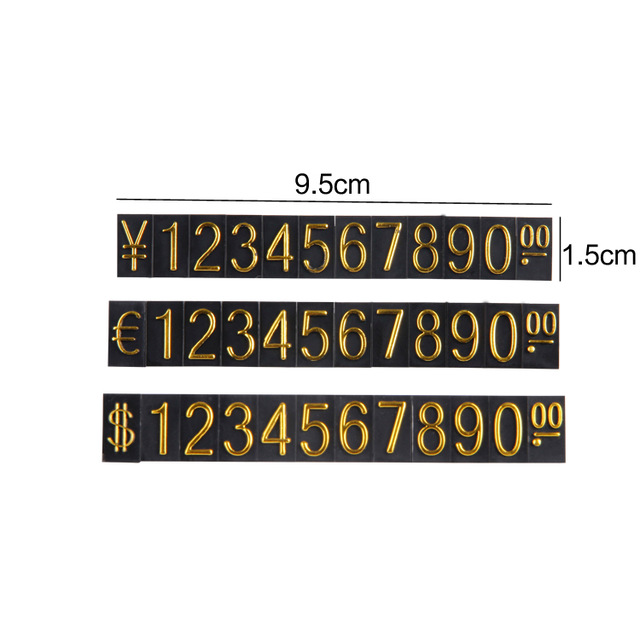 TONVIC 10 Sets Black Store Cube Price Tag Label Sign Euro/Dollar/RMB With Gold Number