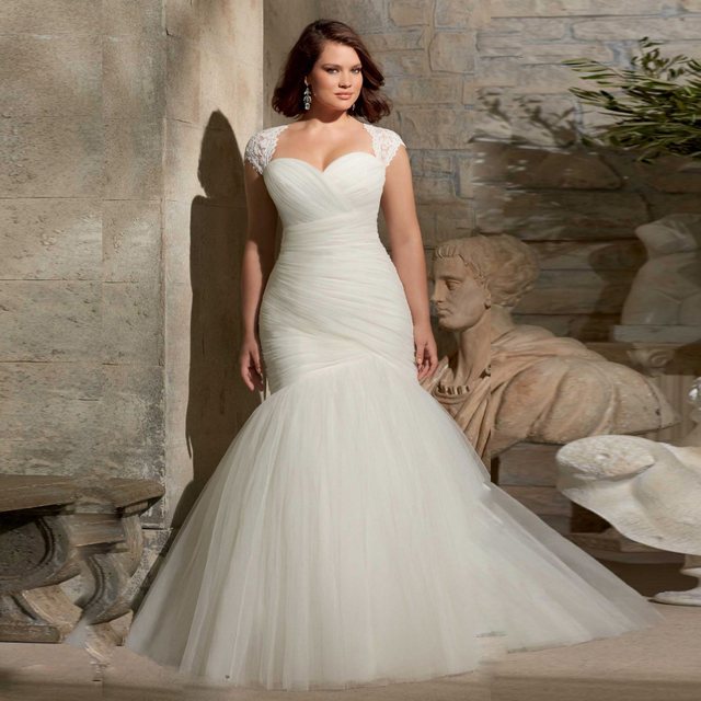 W3213 Long Elegant Mermaid Wedding Dresses With Removed Cap Sleeves Open Back Lace Up Tulle