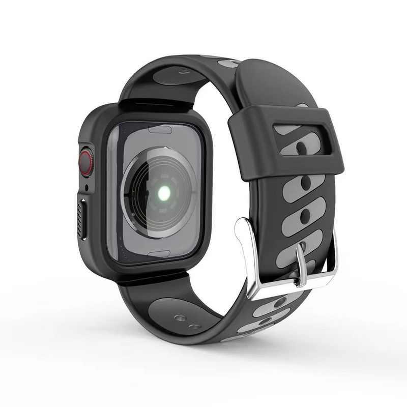 גומי שעון להקת מגן מקרה כיסוי עבור אפל שעון סדרת 4 3 2 1 iwatch להקת 38mm 42mm 40mm 44mm סיליקון ספורט רצועה