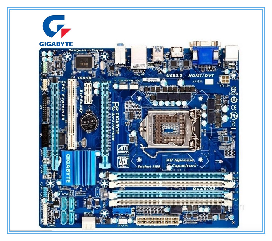 Gigabyte original motherboard GA-Z77M-D3H LGA 1155 DDR3 Z77M-D3H boards 32GB Micro ATX Z77 Desktop Motherboard Free shipping  free shipping original motherboard for gigabyte ga a55 s3p socket fm1 ddr3 32gb a55 s3p all solid atx desktop motherboard