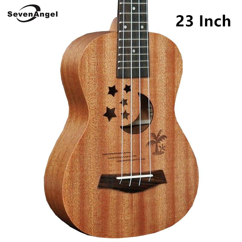 ФОТО SevenAngel Acoustic Electric Ukulele 23 Inch Hawaiian Mini Guitar 4 Strings Ukelele sapele Star Moon partten  with Pickup EQ