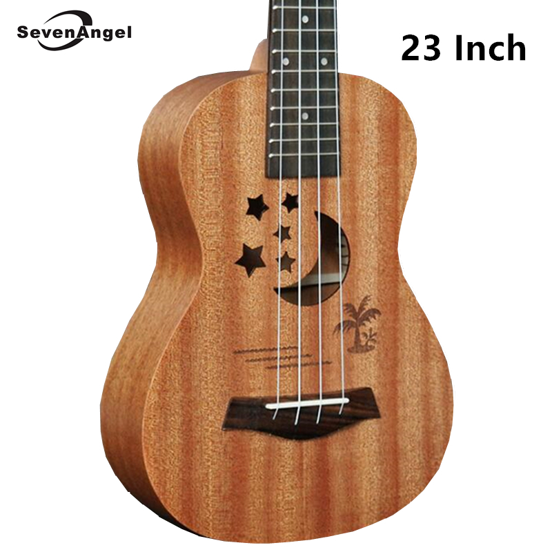 SevenAngel acoustique électrique ukulélé 23 pouces hawaïen Mini guitare 4 cordes Ukelele sapele étoile lune partten avec pick-up EQ