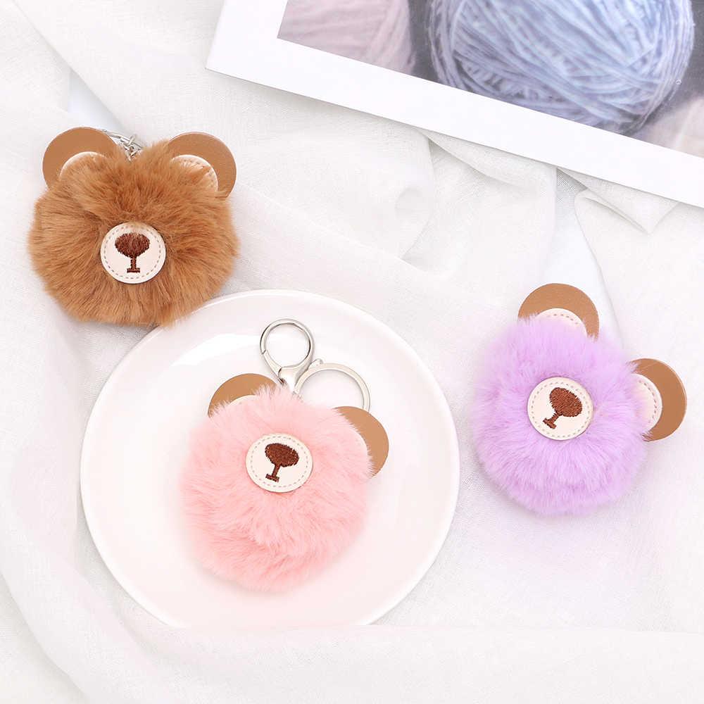 2019 bonito urso cabeça boneca de pelúcia chaveiro pé boneca pompom falso coelho bola chaveiro pelúcia brinquedos para crianças