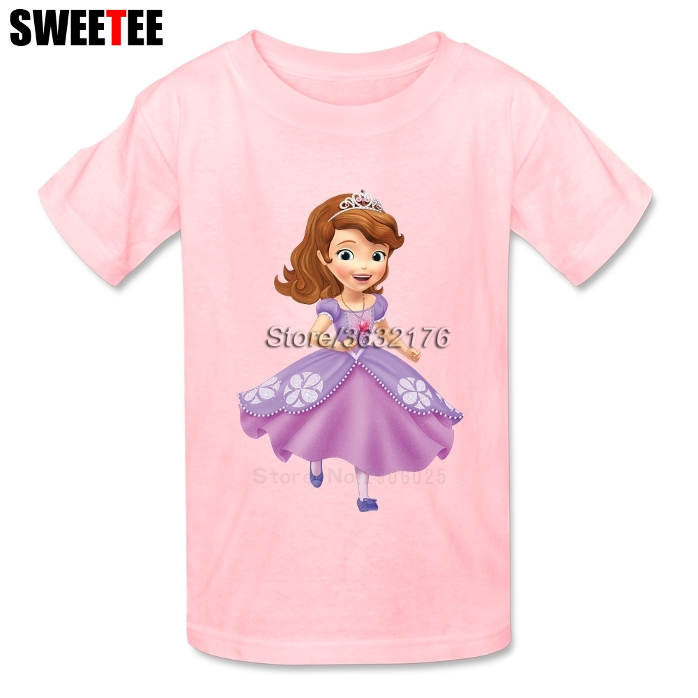 Princess Sofia The First childrens T Shirt Pure Cotton Round Neck Short Sleeve Tshirt Clothing Boys Girls 2018 T-shirt For Baby
