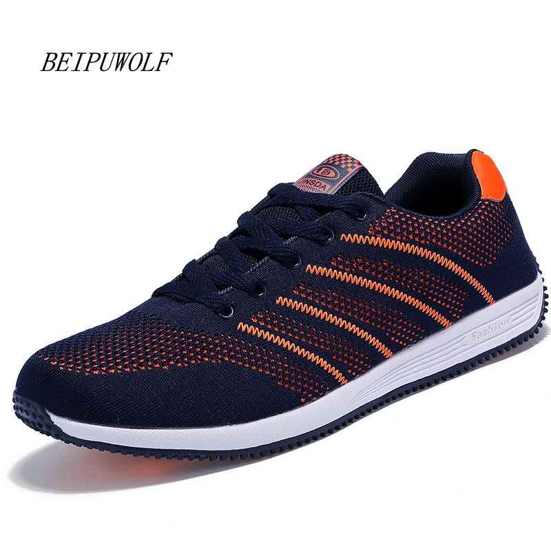 Plus Size 39-48 Mens Running Shoes New Breathable Sports Shoes Lace Up Jogging Sneakers for Man Autumn Flat Walking Shoes