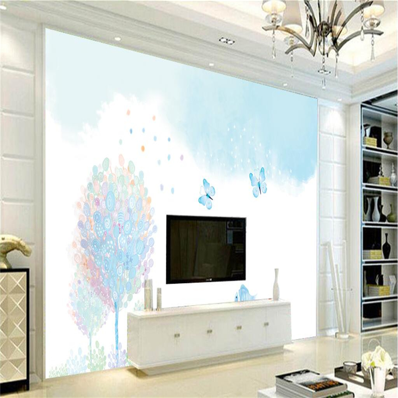 Custom Wallpaper Tree Watercolor Live Fish Mural Photo Wallpaper Environment Friendly TV Background Wall Mural Wallpaper Bedroom