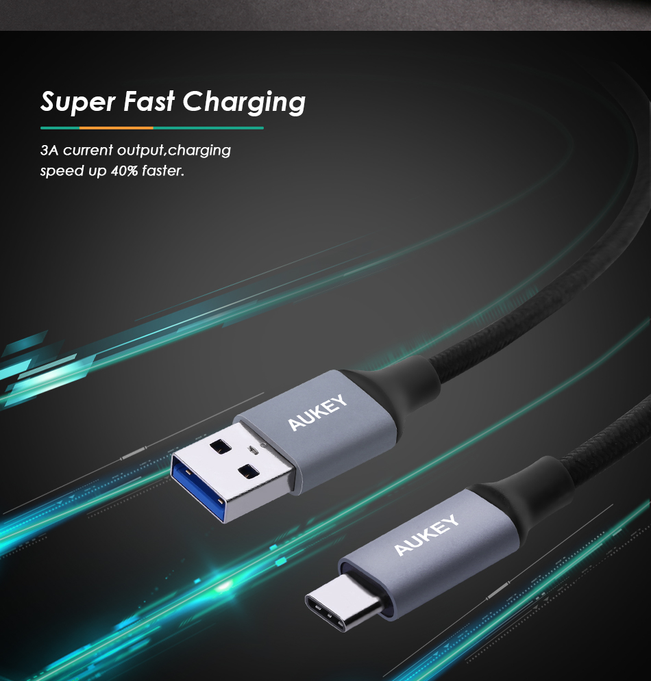 AUKEY USB C Cable Braided USB 3.0 Type C Fast Charging Type-C Data Cable For Samsung Galasy S9 8 Huawei p20 Xiaomi mi6 5 USB-C