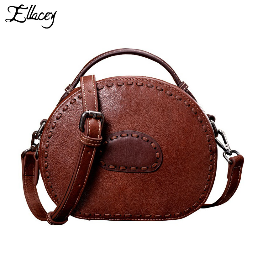 New 2018 Genuine Leather Women Bag Handmade Cow Leather Vintage Crossbody Shoulder Bag Brand Designer Lady Small Messenger Bags aequeen new pu leather womens shoulder crossbody bag brand designer lady small shell bags girls mini single messenger bolsa