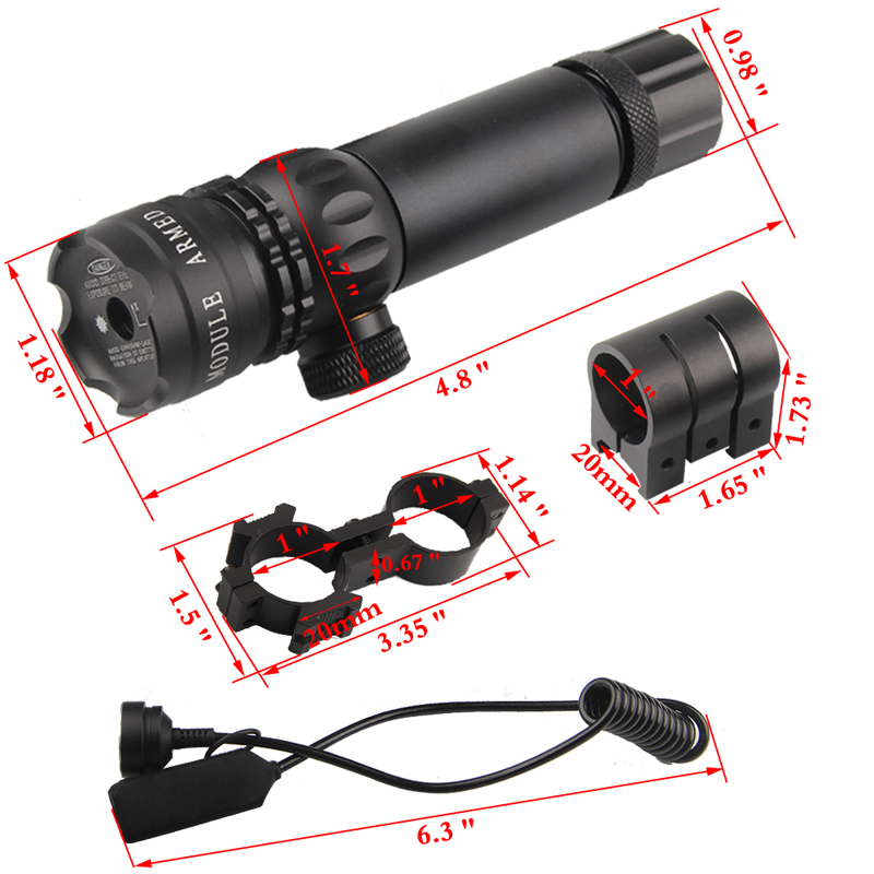 Adjustable Green Laser Sight With Mount & Remote Pressure Switch 3-1G-05