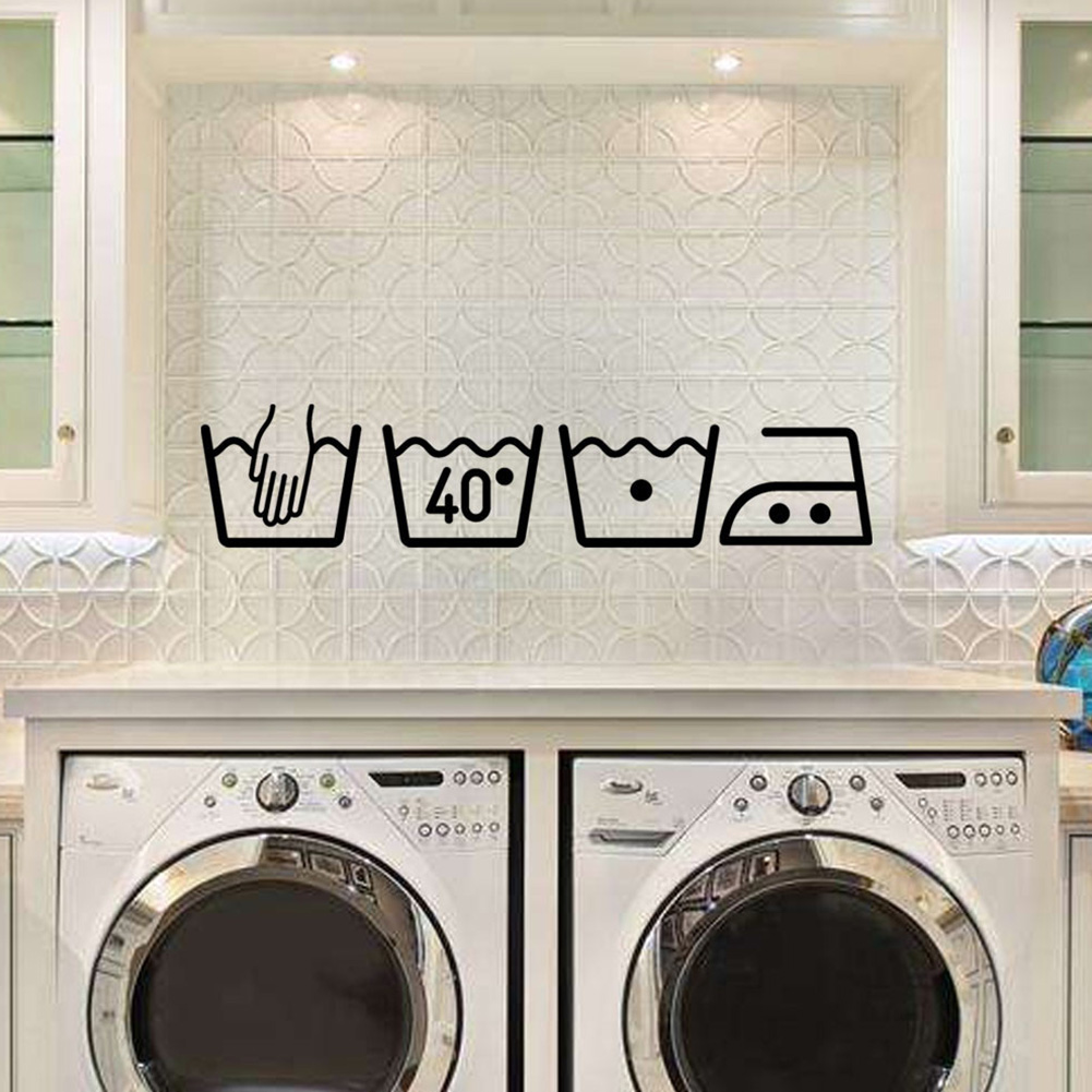 DIY Art Decals Moisture Proof Ornaments Washing Machine Home Decor Cabinet Wall Sticker Laundry Room Mural Waterproof Removable(China)
