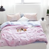 Cute Pink Flamingo Duvet Cover Set 100 Cotton Blue Solid Color Bed Sheet Pillow Case Cartoon