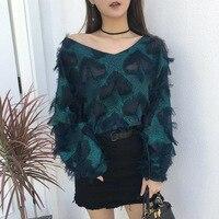 2018 Vrouwen Mode Kwastje Casual Trui Shirt Hight Kwaliteit Dames Sterren Stijl Tonen V-hals Blouse Shirt Tops blusa