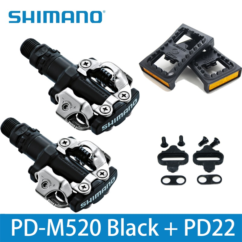 2b3137f2dfb SHIMANO PD520 PD-M520 Clipless SPD Pedals MTB Bicycle Racing Silver Black  White Mountain Bike