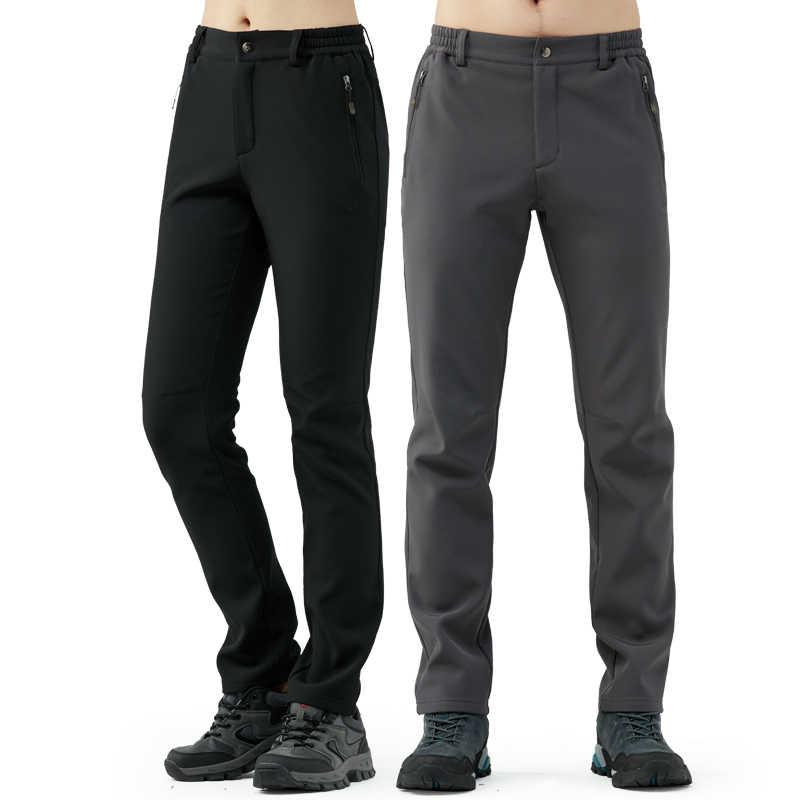 Tectop 屋外ズボン、男性女性ソフトシェルパンツ秋と冬の熱の屋外ハイキングパンツ厚い防水防風