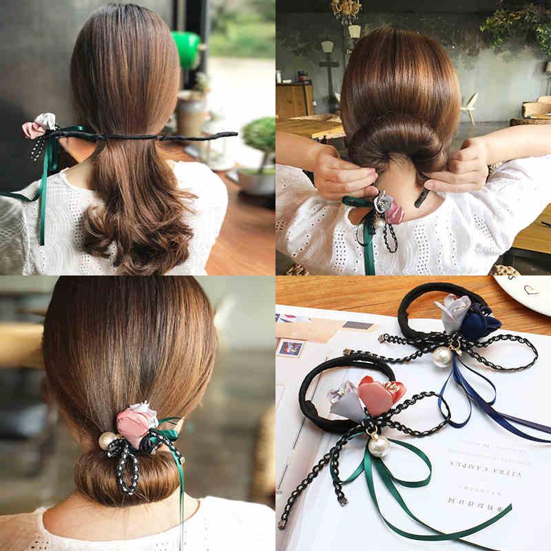 LOEEL Fashion Women Hair Accessories Head Band Hair Maker Magic Hair Making Tool Ribbon Flower Pearls Hair Curls Bun Maker New