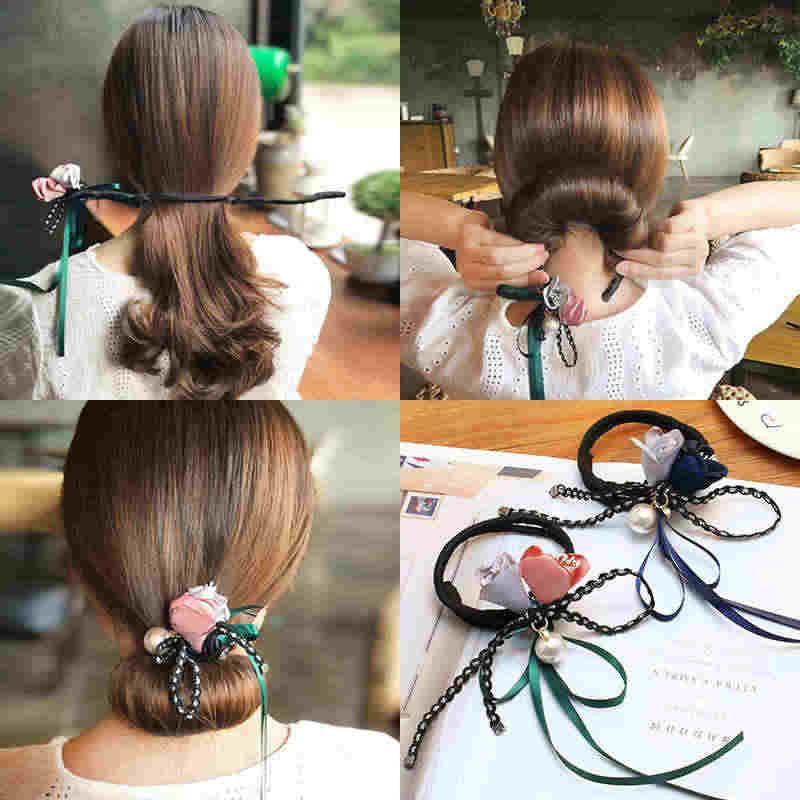 LOEEL แฟชั่นผู้หญิงอุปกรณ์เสริมผมหัวผม Maker Magic Hair เครื่องมือริบบิ้นดอกไม้ไข่มุก Hair Curls Bun Maker ใหม่