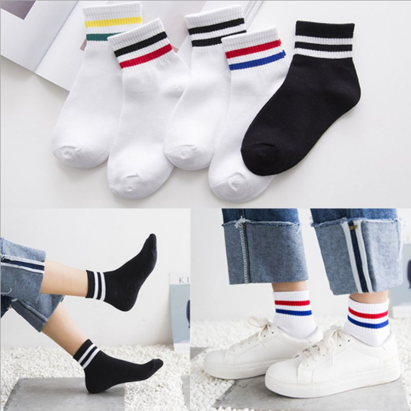 Underwear & Sleepwears Able Harajuku Hip Hop Autumn Winter Letter Tide Color Tube School Wind Low Stripe Cotton Mens Ankle Short Socks Off White Calcetines