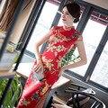 Nova Chegada de Moda Cetim De Seda Longo Cheongsam Estilo Chinês Do Vintage das Mulheres dress f082105 elegante qipao tamanho s m l xl xxl xxxl