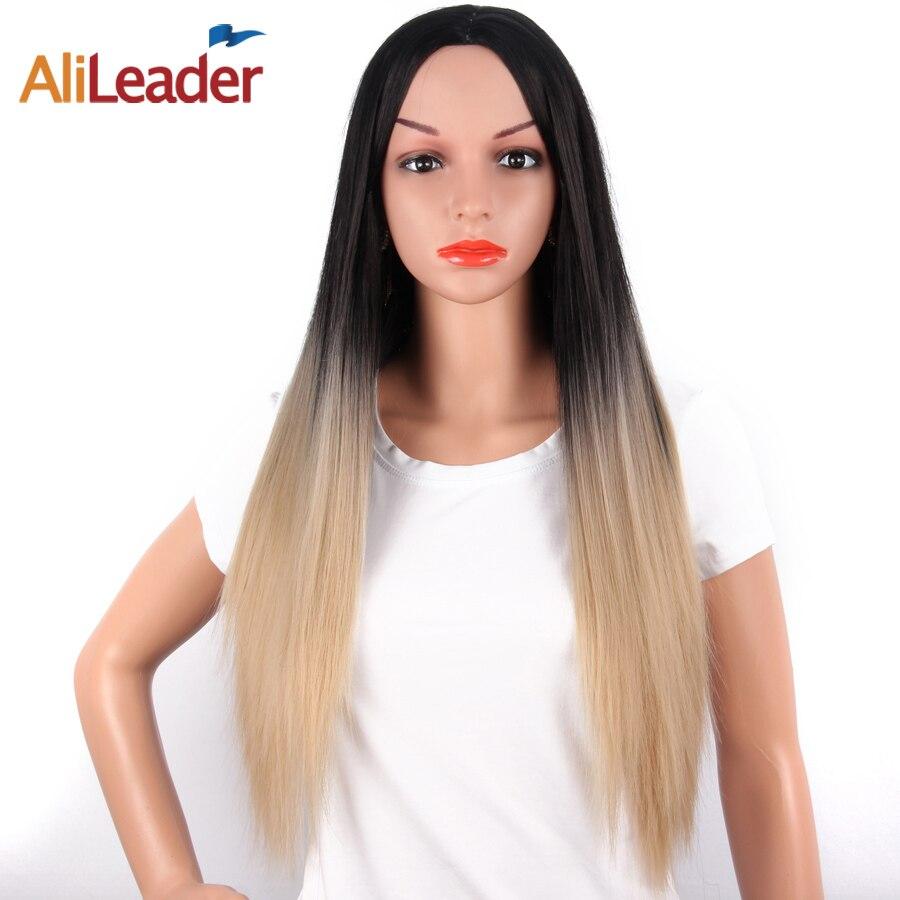 AliLeader Cheveux Produit Longue Ligne Droite Ombre Perruque Blond Pruik 26 Pouce 150% Densité Synthétique Résistant À La Chaleur Perruques Pour Femmes