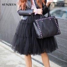 Jupon 3 Schichten Tüll Kurze Schwarze Unterrock Tanzen Rock Mädchen Petticoats Für Abendkleid Anagua BV-054