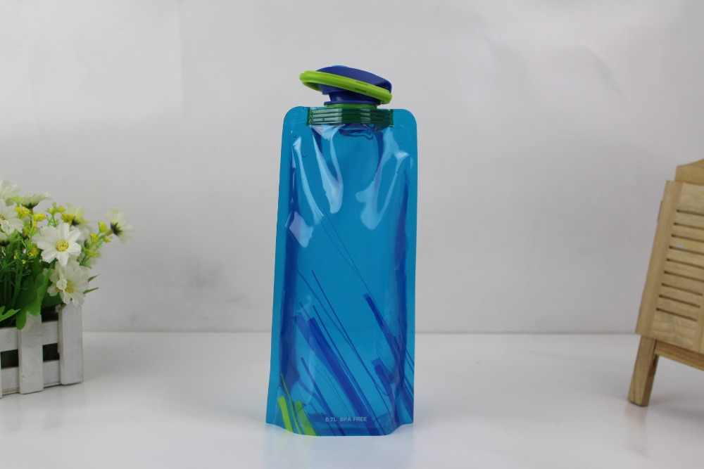 Outdoor foldable cycling climbing water bag plastic portable camping fruit juice bottle milk bag promotion gift customize logo