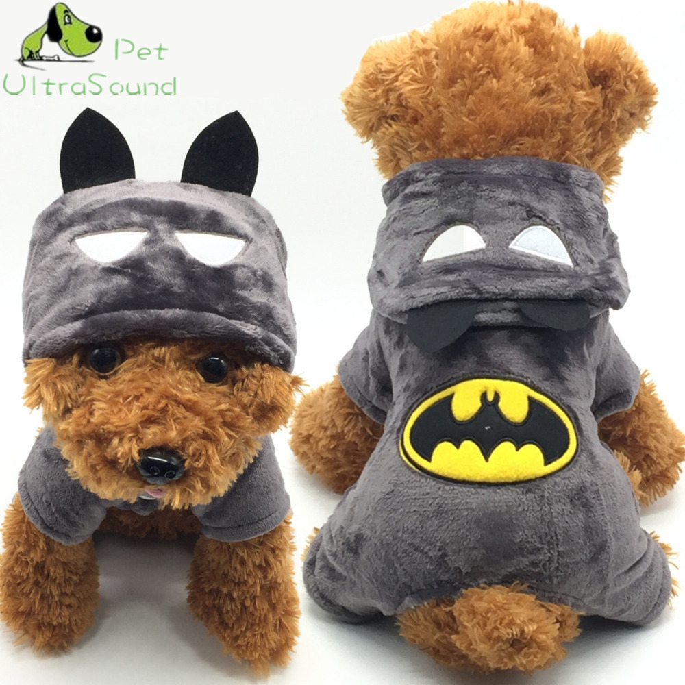 ULTRASONIDO PET Algodón Perro Gato Traje Otoño Invierno Batman Abrigo Chaquetas Pequeño Cuatro Pierna Negro Sportwear Mono Ropa Para Perros