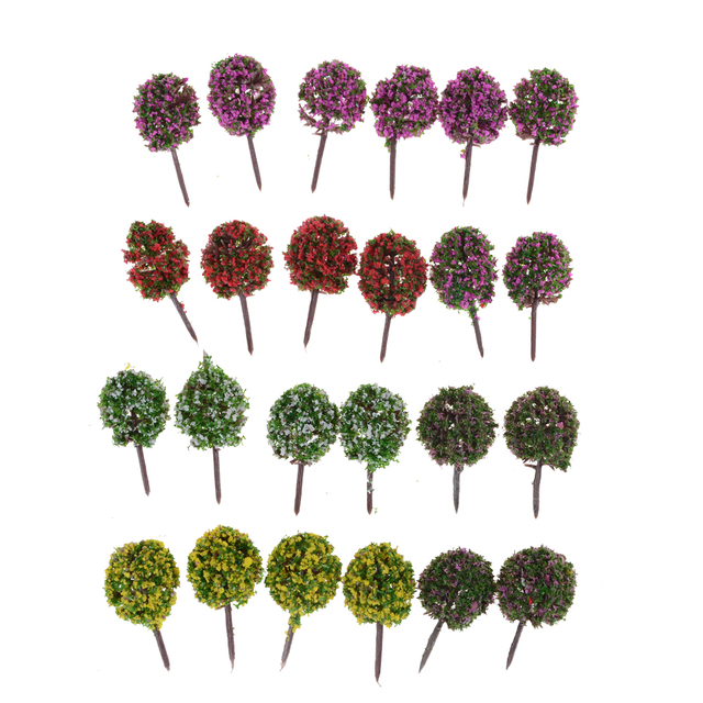 5pcs Random Color Cute Plastic Miniature Flower Tree Plants Fairy Garden  Decoration Dollhouse Craft Model