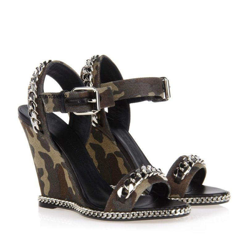 New Arrival Dark Brown Camouflage Canvas Sandals Line Buckle Style Chain Decorated Wedge Dress Sandals Fancy Chain Heel Shoes подушка постельная triumph 00016
