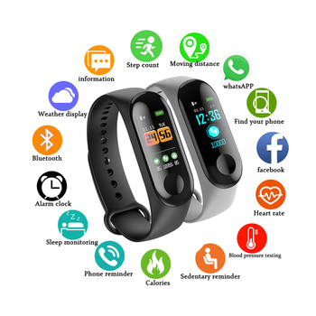 M3 band Outdoor Sports Smart Wristband Fitness Bracelet Heart Rate Blood Pressure Monitoring Wristbands Tracker VS Mi band 3