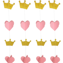 3D Gold Pink Heart Crown Paper Garland Princess Birthday Bunting Balloon Tail Baby Girl Shower Decorations